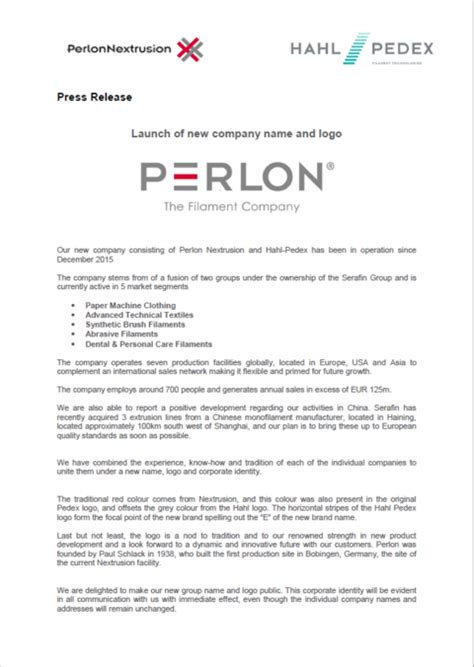 Launch of new company name and new logo | Perlon® – The