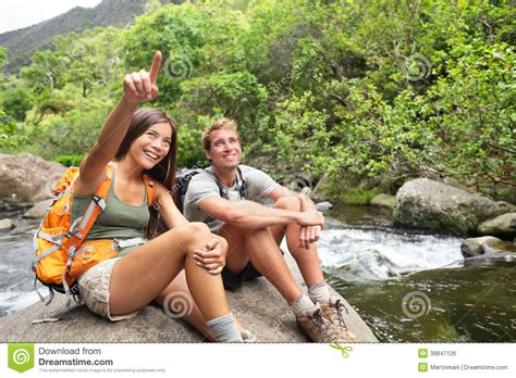 Hiking People In Outdoor Activity On Hawaii Stock Photo
