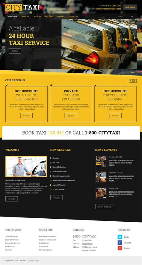 Taxi Service HTML Template on Behance
