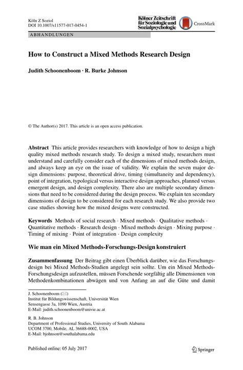 (PDF) How to Construct a Mixed Methods Research Design