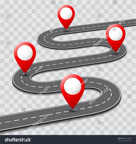 Vector Pathway Road Map Route Pin Stock Vector 503252569