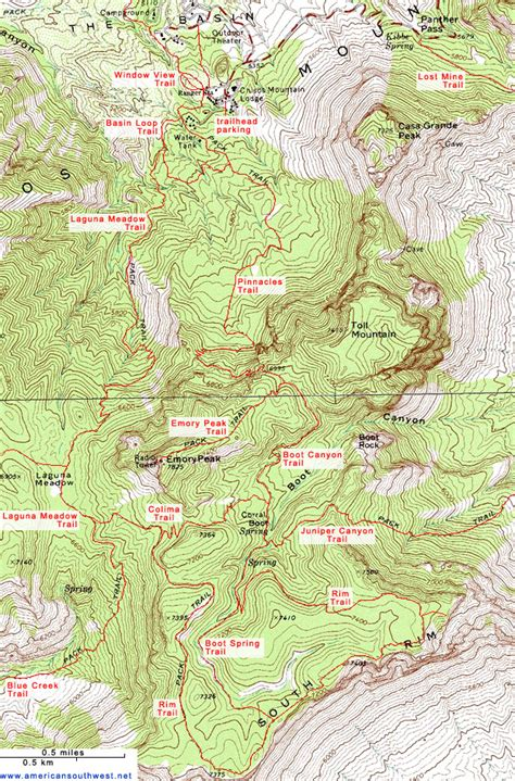 Topographic Map of Emory Peak and the Chisos Mountains