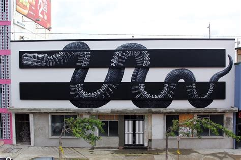 """""""X-Ray Snake"""" – A Large New Mural by Street Artist ROA in"""