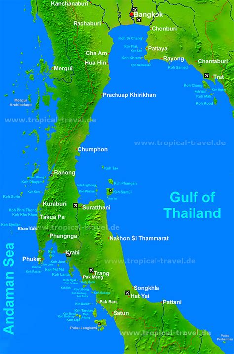 Thailand´s islands - map of southern Thailand